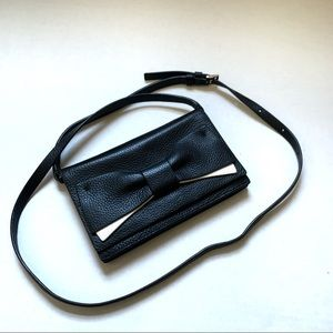 Kate Spade Pebble Leather Small Black Crossbody with a black and White Bow